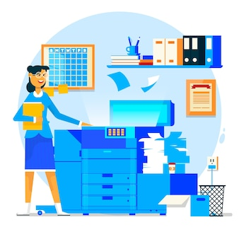 Business woman using copy machine or printing machine with stacked pile of file documents. Vector illustration.