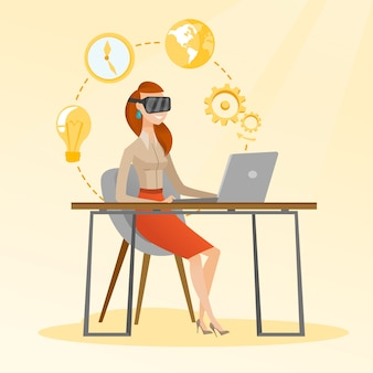 Business woman in vr headset working on a computer