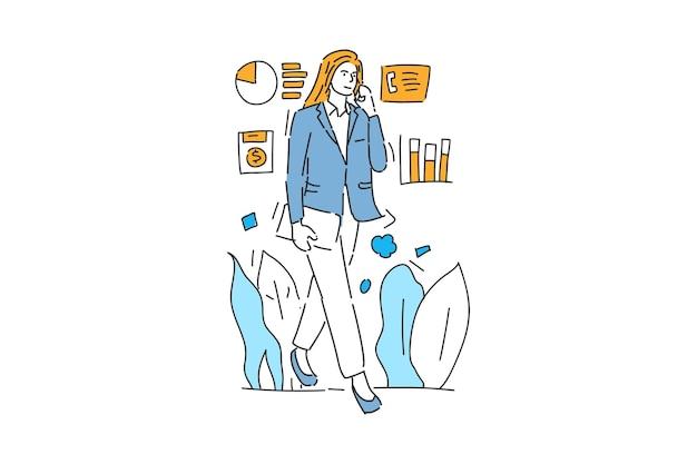 Деловая женщина ходить и звонить по телефону рисованной иллюстрации