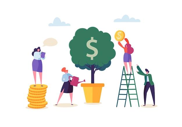 お金の植物に水をまくビジネスウーマン。マネーツリーからゴールデンコインを収集するキャラクター。財政的利益、投資、銀行、収入の概念。