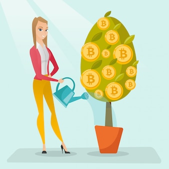 Business woman watering tree with bitcoin coins.