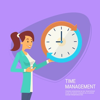 Business woman with clock time management concept