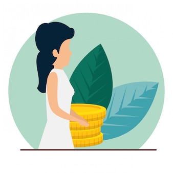 Business woman with coins and leaves