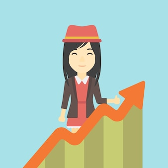 Business woman with growing chart.