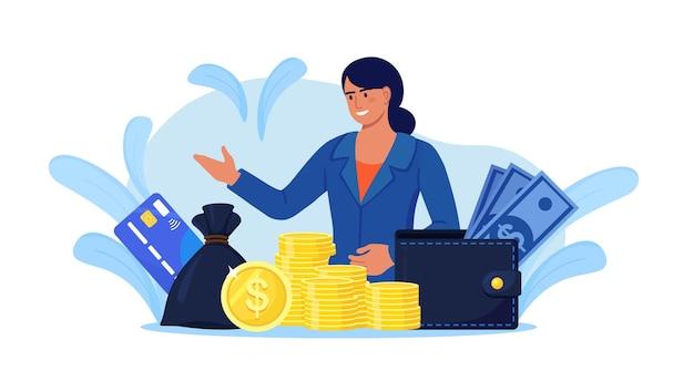 현금, 돈 가방 및 지갑의 힙 비즈니스 우먼. 금융 컨설턴트, 은행 제공 대출. 성공적인 투자자 또는 기업가 수입을 얻습니다. 금융컨설팅, 투자, 저축이익