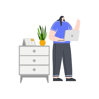 Business woman with a laptop concept illustration for landing page