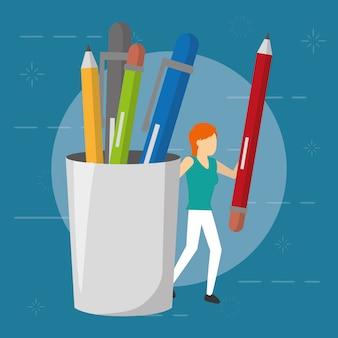 ビジネスの女性と鉛筆、用品、フラットスタイル