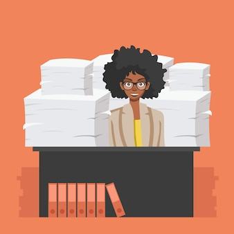 Business woman with pile of office papers