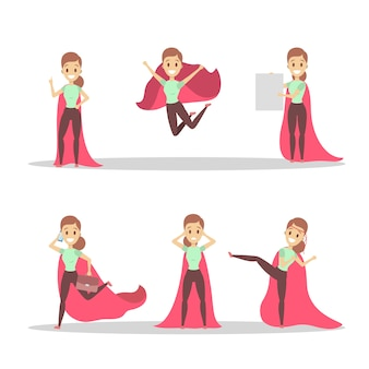 Business woman with red superhero cloak set. girl with a power and motivation in different poses. idea of leadership.   illustration