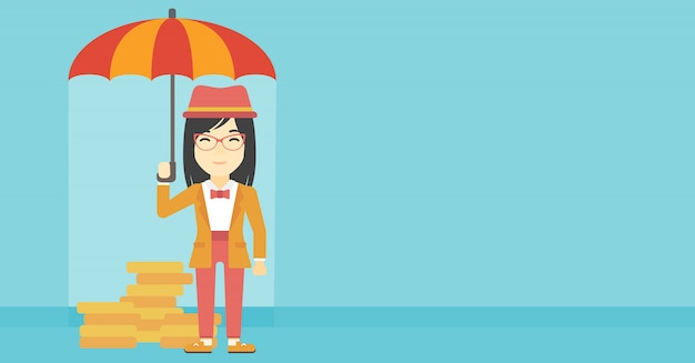 Business woman with umbrella protecting money.