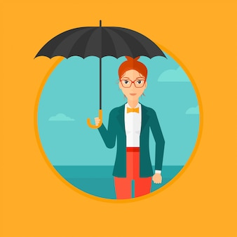 Business woman with umbrella.