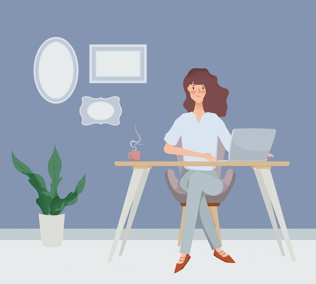 Business woman working at desk. hand drawn characte. interior workplace room design.
