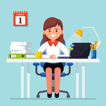 Business woman working at desk. office interior with computer, laptop, documents, table lamp, coffee. manager sitting on chair. workplace for worker, employee