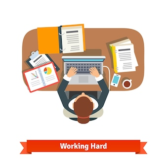 Business woman working hard sitting at the desk Free Vector