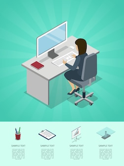 Business woman working in office at computer infographic