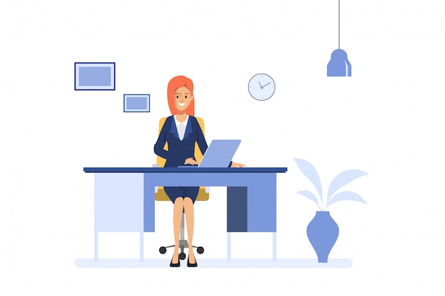 Business woman working at office desk with laptop. administration operator job. business people character.