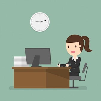 Business woman working at the office Free Vector