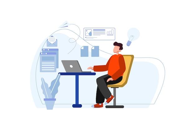 사무실 그림에서 노트북을 사용 하는 비즈니스 우먼