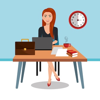 Business woman in workspace isolated icon design, vector illustration  graphic