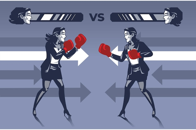 Business women in boxing match to knock out each other