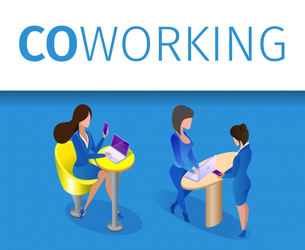 Business women characters work in coworking area