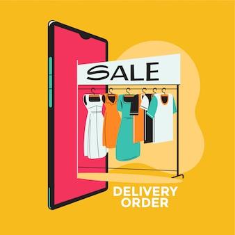 Eコマースのウェブショッピングでドレスを選ぶビジネス女性