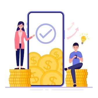 ビジネスウーマンがスマートフォンで金銭的価値を高める方法を説明しています。彼の電話で作業している金貨の山に座っているビジネスマンは、興味深いアイデアを持っています。