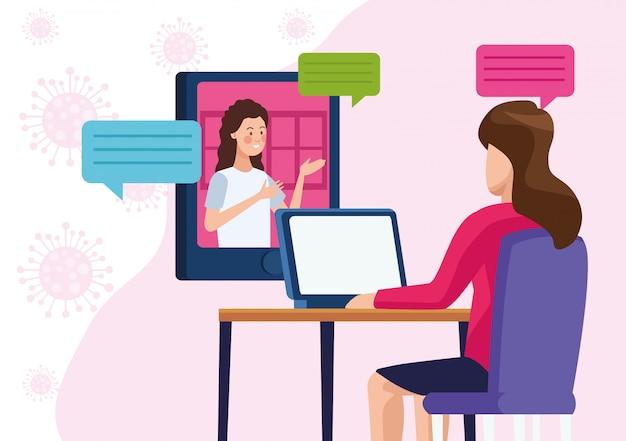 オンラインの再会を満たすビジネスの女性