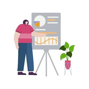 방문 페이지에 대한 데이터 개념 그림을 제시하는 비즈니스 여성