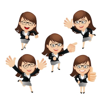 Business women with different poses