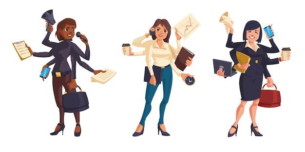 白い背景で隔離の多くの手を持つビジネス女性