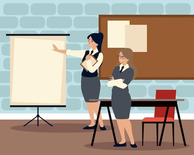 Деловые женщины с презентационным советом, встречающимся с рабочей иллюстрацией