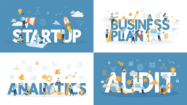 Business word set. audit, analytics and plan.