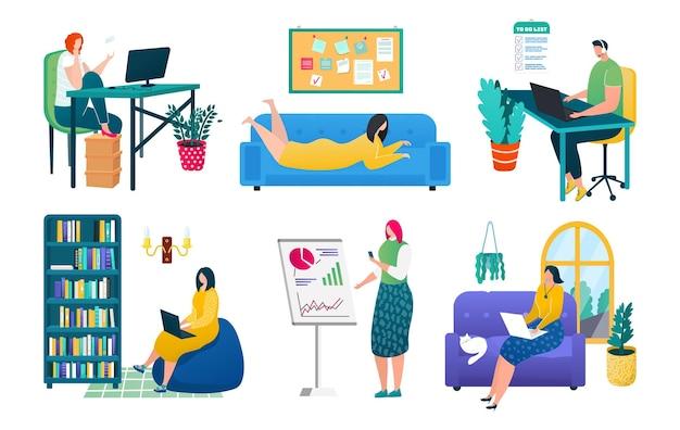 在宅勤務セット、ベクトルイラスト。男性女性キャラクターは、リモートジョブで白いコレクションに分離されたコンピューターを使用します。テーブルでのフリーランサー、やることリスト、プレゼンテーションを備えたソファの職場。