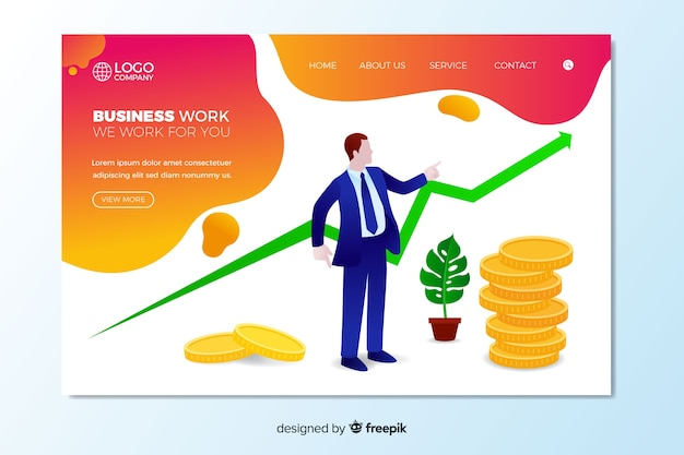 Business work landing page template
