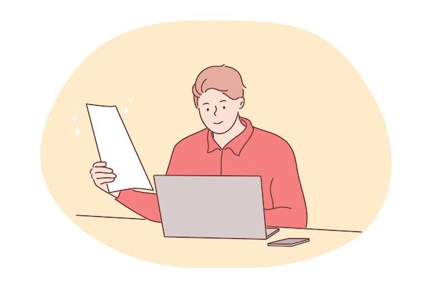 ビジネス、仕事、オンライン、フリーランス、採用の概念。男マネージャーフリーランサー