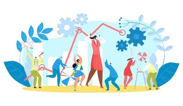 비즈니스 작업 문제, 벡터 일러스트 레이 션입니다. 사람들 캐릭터는 사무실에서 스트레스를 받고, 사업가는 신호를 받고 표지판을 들고, 차트 기호 근처에 큰 여성 노동자입니다. 걱정된 감정을 가진 팀, 노트북에서 작업합니다.