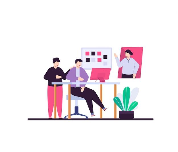 Бизнес работать вместе плоской иллюстрации