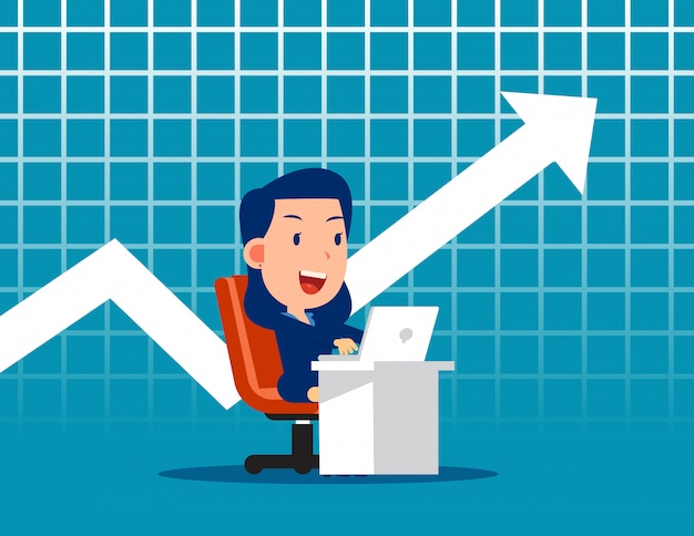 Business worker and chart background