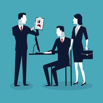 漫画を交渉するビジネスワーカー