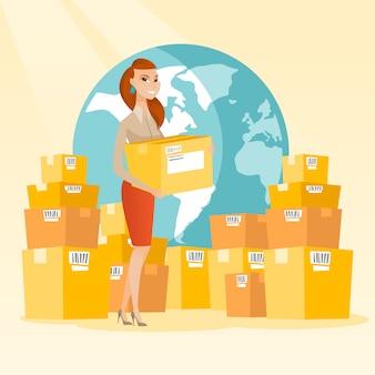 국제 배달 서비스의 비즈니스 노동자입니다.