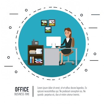 Business workers in office banner information