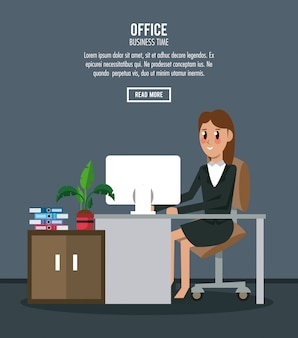Деловые работники в баннерной информации офиса