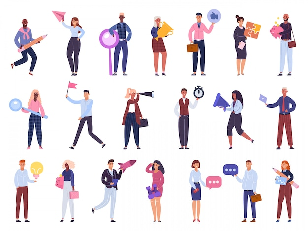 Business workers. office people characters team, brainstorming, time management and startup business   illustration set. characters businesswoman and man, teamwork community company