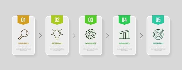Дизайн шаблона инфографики бизнес-процесса с 5 вариантами концепции визуализации данных временной шкалы бизнеса