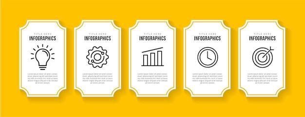 Дизайн шаблона инфографики бизнес-процесса с 5 вариантами концепции визуализации данных временной шкалы
