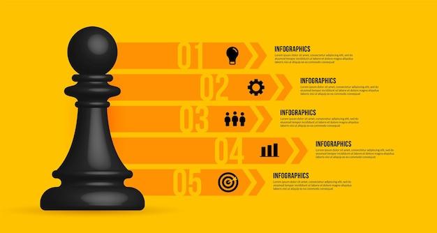 Бизнес-процесс инфографики шаблон реалистичные шахматы бизнес-стратегии и концепции планирования