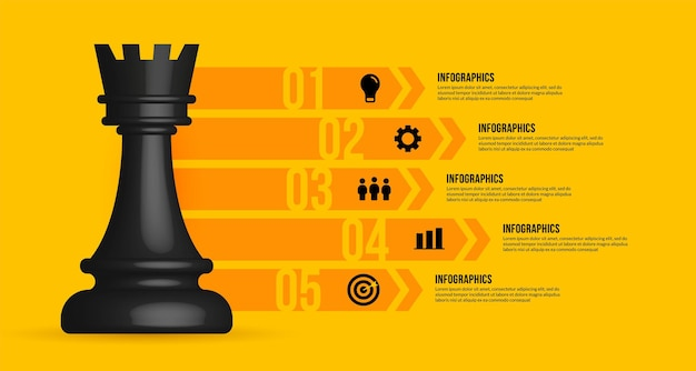 Шаблон инфографики бизнес-процесса реалистичные шахматы бизнес-стратегии и концепции планирования