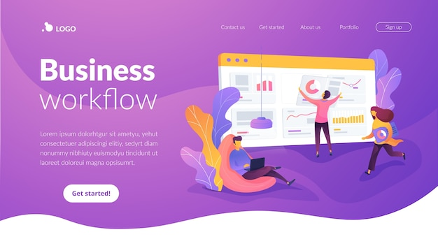 Business workflow landing page template