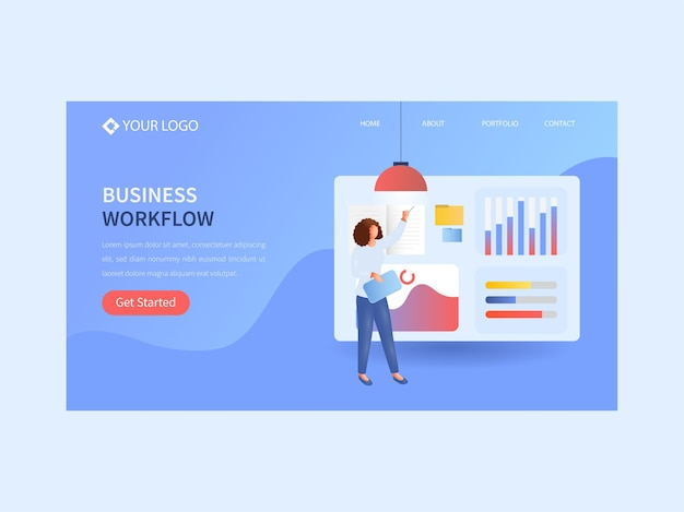 Business workflow landing page or web banner design